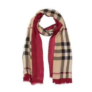 Burberry Colorblock Plaid Knit Scarf